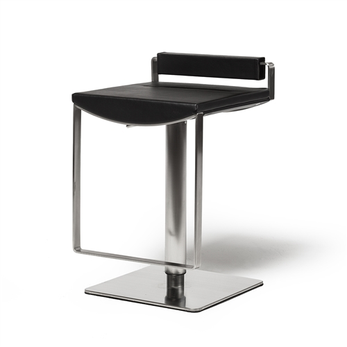 Hydraulic Adjustable Counter Stool, Black Leather