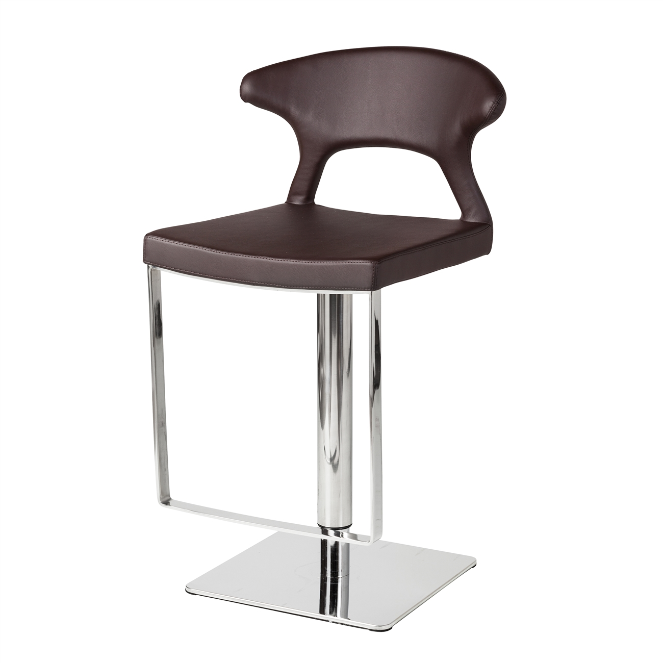 adjustable hydraulic counter stool brown leather the khazana  - hydraulic adjustable counter stool brown leather