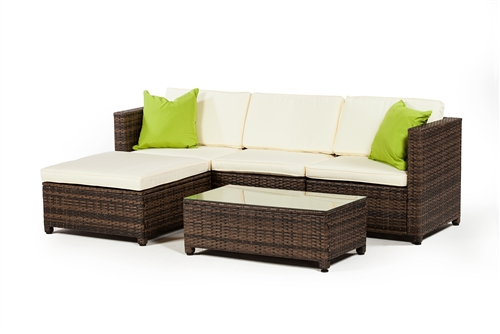 Outdoor Furniture 3 Piece Set with Ottoman in Grey Rattan