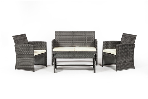 Outdoor Furniture 4 Piece Set in Grey Rattan