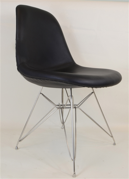 eames inspired side chair black leather khazana. Black Bedroom Furniture Sets. Home Design Ideas