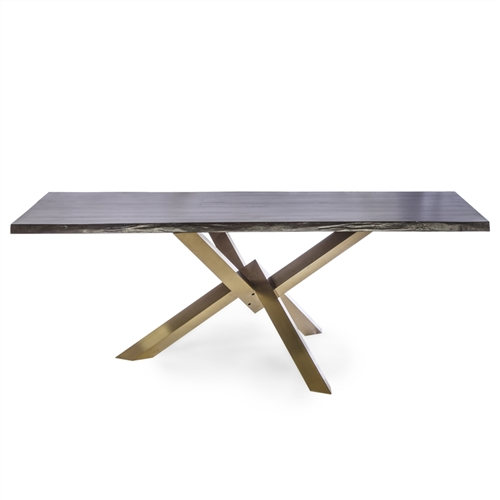 Couture Brushed Gold Dining Table With Live Edge Table Top