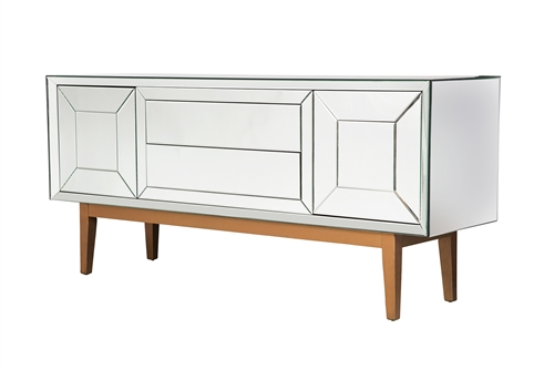 Mirrored Two Cabinet Media Console
