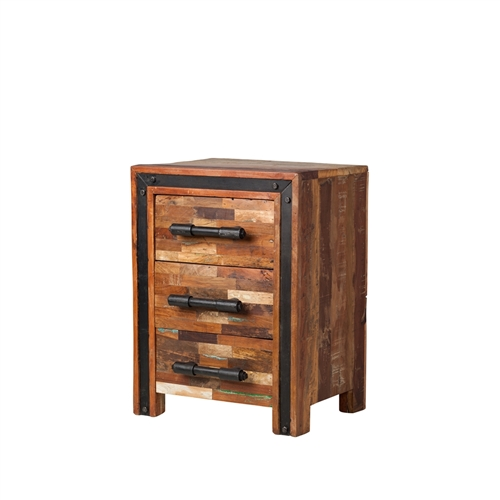 Jaipur Mixed Wood Nightstand with Metal Frame
