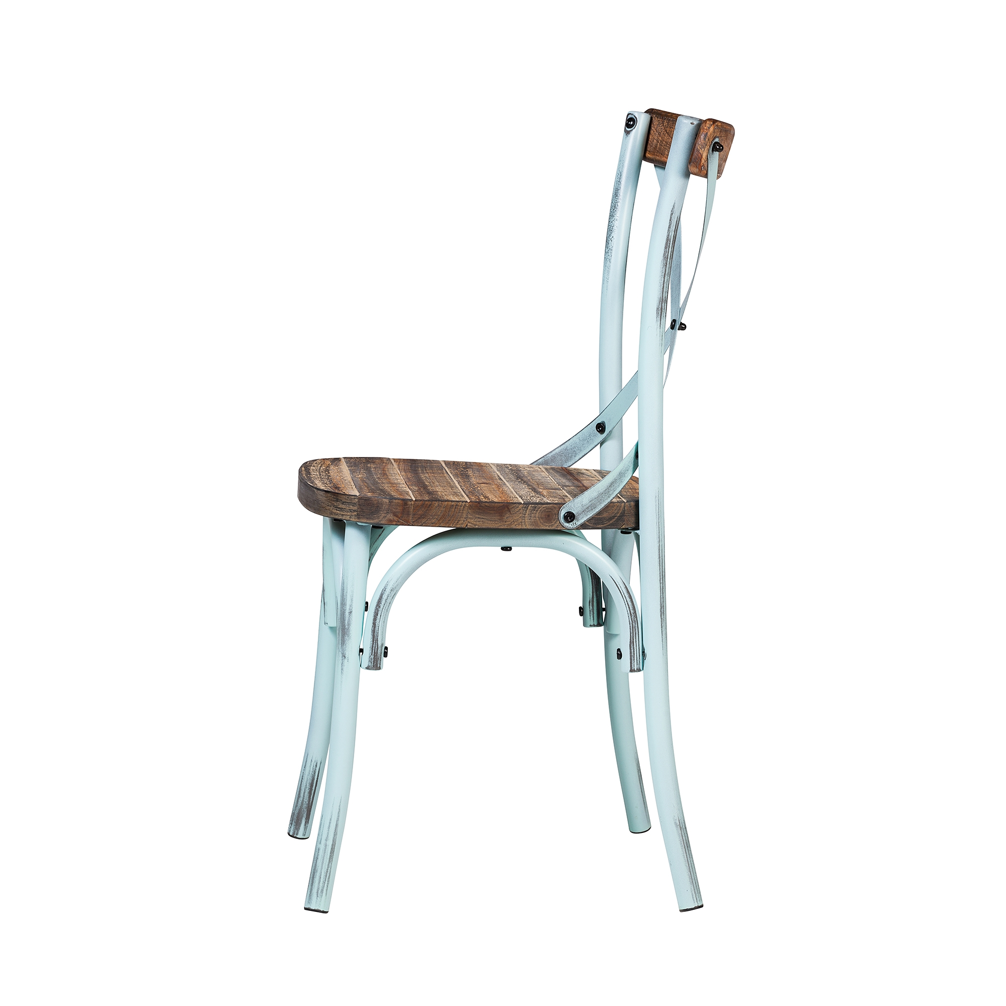 Rustic Reclaimed Crossback Dining Chair In Sky Blue