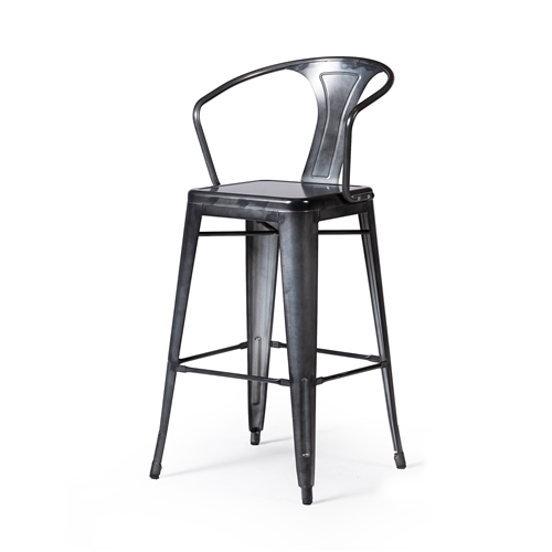Retro Cafe Tolix Counter Stool Dark Gun Metal
