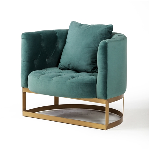 Bach Occasional Chair in Peacock Blue Velvet