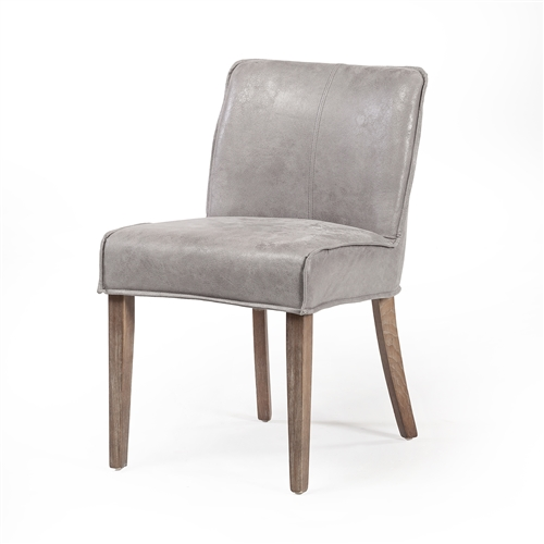 Ariel Dining Chair in Distressed Grey Leather