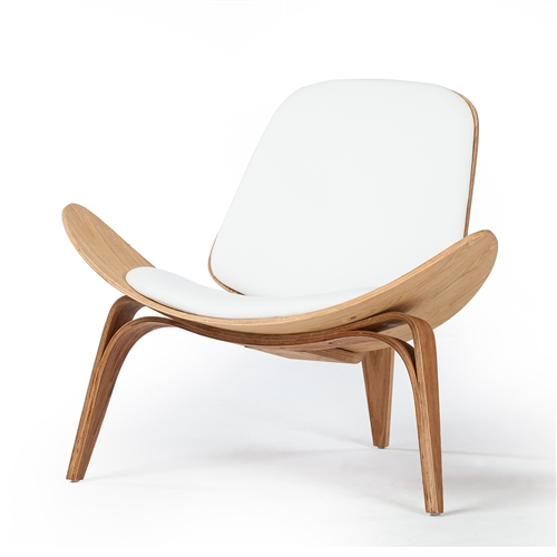 Shell Inspired Chair 07 Hans Wegner White Leather