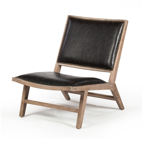 Ryder Lounge Chair in Distressed Black Leather