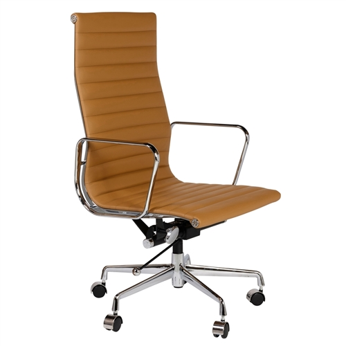 Eames Style Aluminum Group Executive Chair in Brown