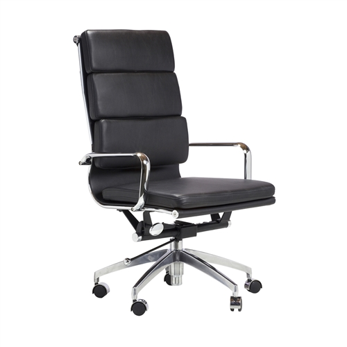 Eames Style Soft Pad Executive Chair, High Back in Black