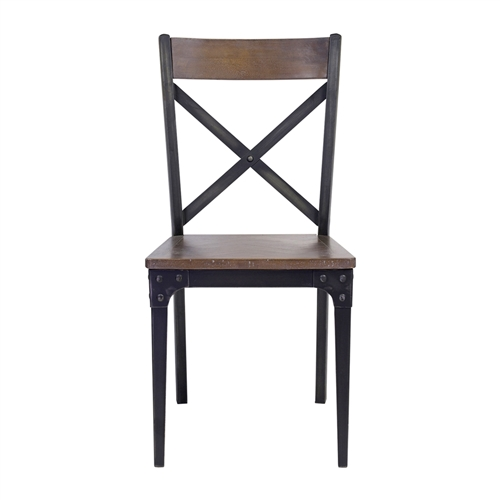 Industrial Herringbone Inlay Dining Chair
