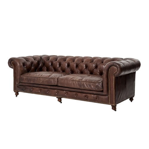 Chesterfield Sofa in Antique Brown Leather