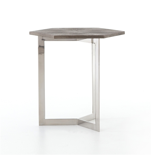Bentley Shagreen Hex End Table in Stainless Steel