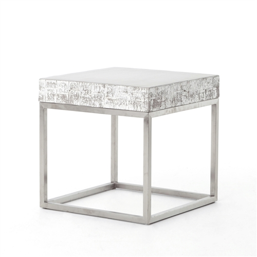 Constantine Concrete And Chrome End Table