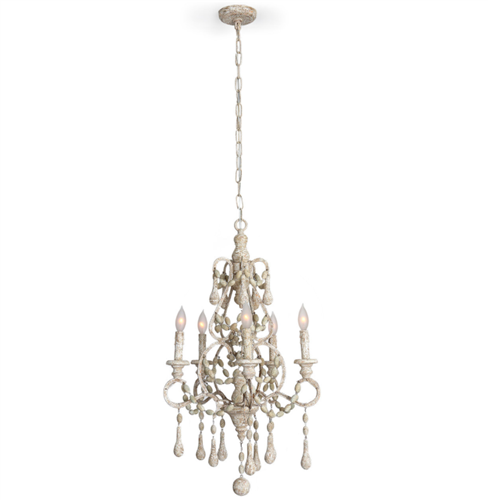 Wood Beads and Iron Chandelier, Small