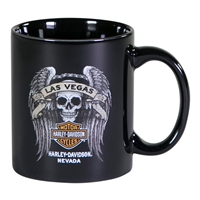Las Vegas H-D Coffee Mug with Custom Skull and Wings