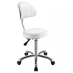 Button ++ White Stool with Metal Base - USA-1023AB3
