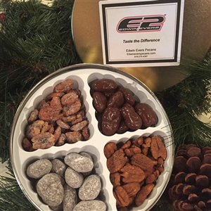 Edwin Evers Oklahoma Grown Gift Tins W/4 Flavors of Pecans 1 lb.