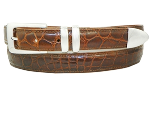 "Alligator Belt with 1 "" Sterling Silver Manhattan Buckle Set"