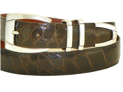 "Alligator Belt with 1 3/16"" Sterling Silver Sierra-Vista Buckle Set"