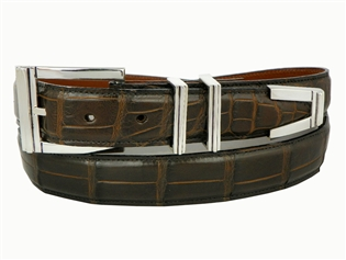 "Alligator Belt with 1 3/16"" Sterling Silver Westport Buckle Set"