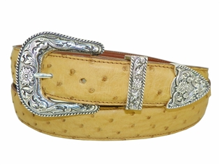 "Ostrich Belt 1 3/16"" with Taos Buckle Set"