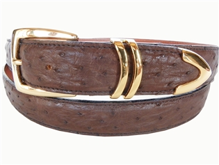 "Ostrich Belt 1 3/16"" with Scottsdale Gold-Plated Buckle Set"