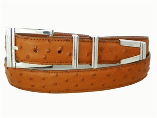 "Ostrich Belt with 1 3/16"" Sterling Silver Westport Buckle Set"