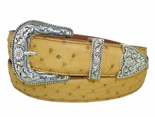 "Ostrich Belt 1 1/2"" with Taos Buckle Set"