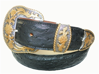 "Ostrich Belt 1 1/2"" with Santa Barbara Buckle Set"