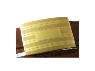Sterling Silver Slide Buckle w 24K Gold Plate - Etched
