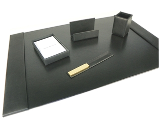 British Lamb Leather 5-Piece Desk Set
