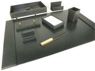 British Lamb Leather 9-Piece Desk Set