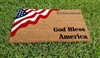 God Bless America Patriotic Flag Custom Handpainted Welcome Doormat By Killer Doormats