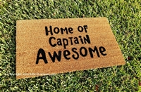 Home of Captain Awesome Custom Handpainted Funny Welcome Doormat by Killer Doormats