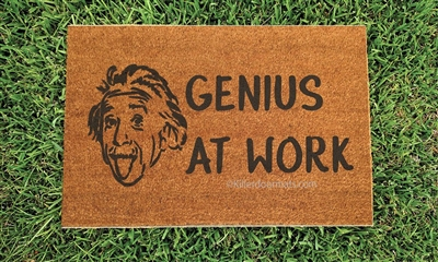 Genius At Work Custom Handpainted Funny Einstein Welcome Doormat by Killer Doormats