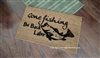 Gone Fishing Be Back Later Custom Handpainted Welcome Doormat by Killer Doormats
