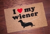 I Love My Wiener Dachshund Custom Handpainted Funny Doormat by Killer Doormats