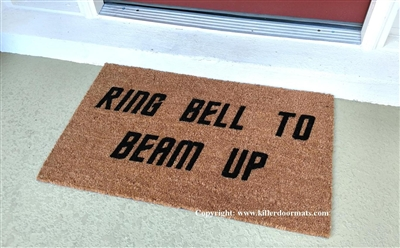 Ring Bell To Beam Up Funny Fandom Custom Handpainted Welcome Doormat by Killer Doormats