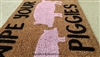 Wipe Your Piggies Custom Cute Pig Handpainted Doormat by Killer Doormats