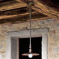 Civetta Aged Brass Interior Conduit Mounted Pendant by Aldo Bernardi