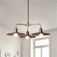 Civetta Aged Brass Three Light Pendant by Aldo Bernardi