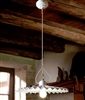 Piega White Glazed Ceramic Interior Pendant Light by Aldo Bernardi