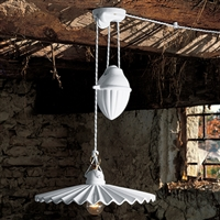 Piega White Glazed Ceramic Interior Counterweight Pendant Light by Aldo Bernardi