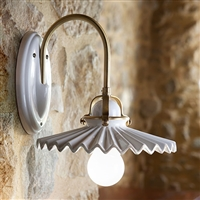 Piega White Glazed Ceramic Interior Sconce with Pleated Shade by Aldo Bernardi