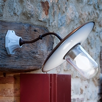 Al Sole Indoor/Outdoor Brass and Ceramic Sconce by Aldo Bernardi