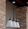 Caracoi Three Light Aged Brass and Ceramic Interior Pendant by Aldo Bernardi