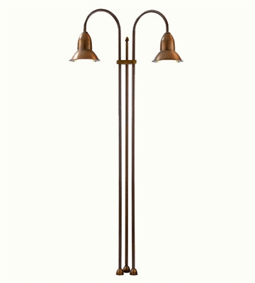 SUN3.2 Jasmine Two Light Aged Brass Outdoor Floor Lamp by Aldo Bernardi